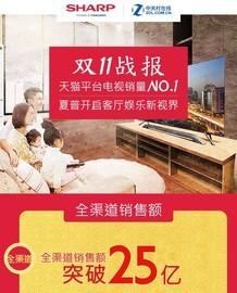 双十一战报!夏普电视天猫平台销量No.1截图